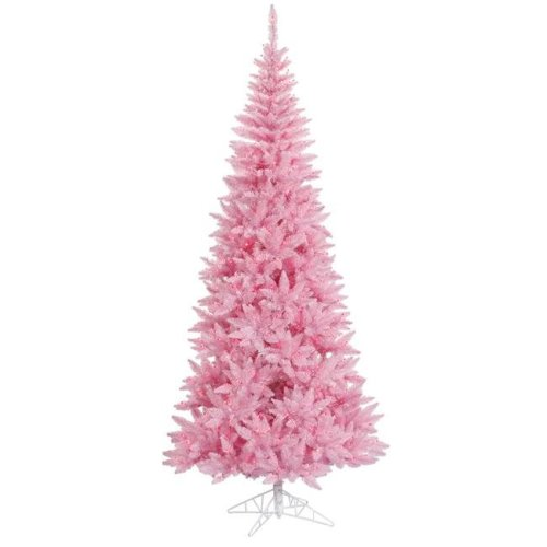Vickerman K163656 5.5 ft. x 30 in. Pink Slim Fir Christmas Tree with 300 Pink 722 Tips Dura Light