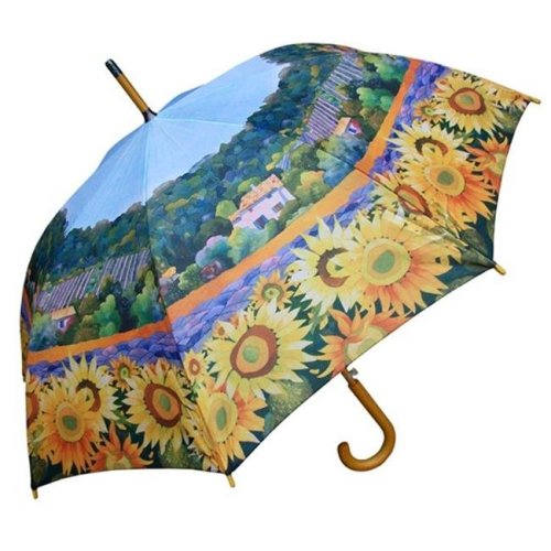 RainStoppers W3562SUN 46 in. Auto Open Gabrielle Sunflowers Print Umbrella with Wood Hook Handle, 12 Piece