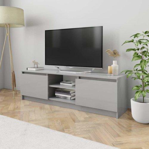 TV Cabinet High Gloss Grey 120x30x35.5 cm Chipboard