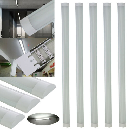 6x 4FT 1200mm Slim LED Wide Batten Tube Light Ceiling Strip Bar Dayl
