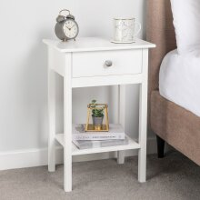 Bedside Table Bedroom Cabinet Nightstand With Drawer & Shelf Christow