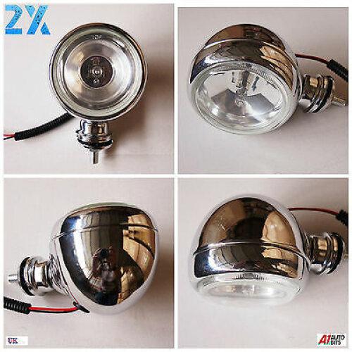 2x Chrome Spot Fog Lights Lamps For Honda Suzuki BMW KTM Motorcycle Scooter ATV