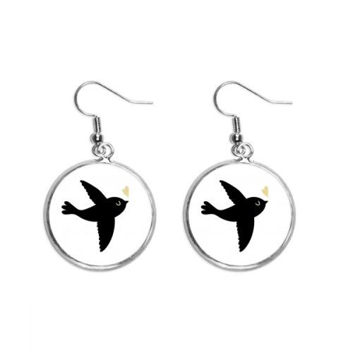 Lover Bird Heart Quote Style Ear Dangle Silver Drop Earring Jewelry Woman