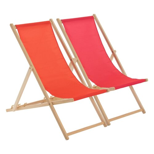 Wooden Deck Chair Folding Garden Beach Seaside Deckchair Red Pink Set of 2