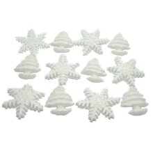 White Glittered Trees & Snowflakes Frozen Cupcake Cake Toppers