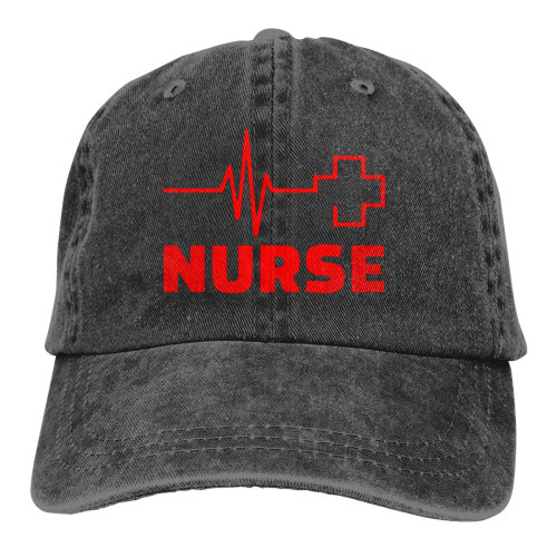 Nurse Heartbeat Red Cross Denim Baseball Caps