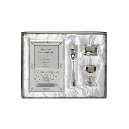 Silver Plated Christening Gift Baby Set 4 Piece Spoon Eggcup Frame