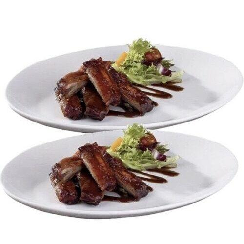 2x Pure White Oval Dinner Plates Steak Plates Porcelain Plates 31cm