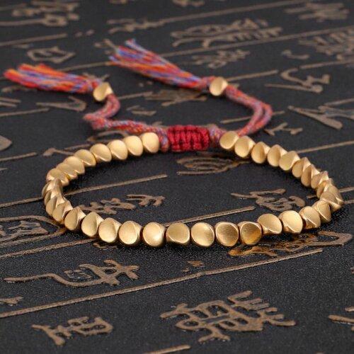 (As Seen on Image) Handmade Tibetan Buddhist Braided Cotton Copper Beads Lucky Rope Bracelet