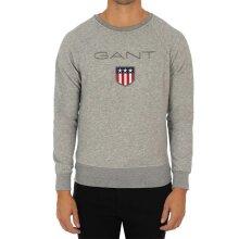 GANT SHIELD Mens Sweatshirt Crew Neck Long Sleeve Pullover Jumper Grey Melange
