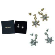 Craftuneed snowflake rhinestones drop earrings with silver pins