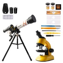 deAO 2 in 1 My First Telescope and Microscope Educational Play Set  Children Science Exploration and Astronomy Starter Kit