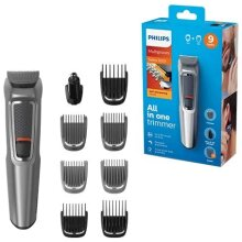 Philips 9-in-1 All-In-One Trimmer, Series 3000 Grooming Kit for Beard & Hair with 9 Attachments, Including Nose Trimmer, Self-Sharpening Bla