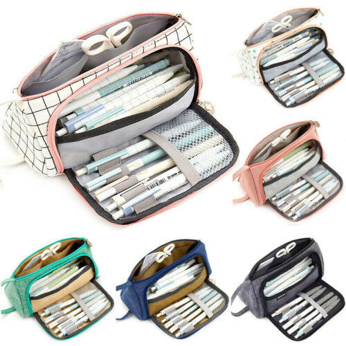Large Capacity Student Pen Pencil Case Double Zip School Stationery Cosmetic Bags