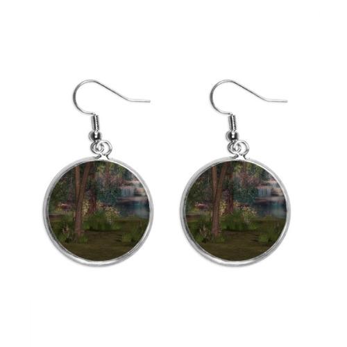 Stream Forestry Science Nature Scenery Ear Dangle Silver Drop Earring Jewelry Woman