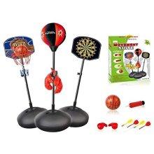 Adjustable 3 IN 1 Basketball Hoop Magnetic Dart Board, Boxing Set Toy