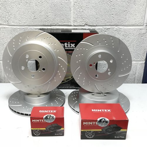 FOR AUDI Q3 FRONT REAR DIMPLED GROOVED PERFORMANCE BRAKE DISCS MINTEX PADS WIRE