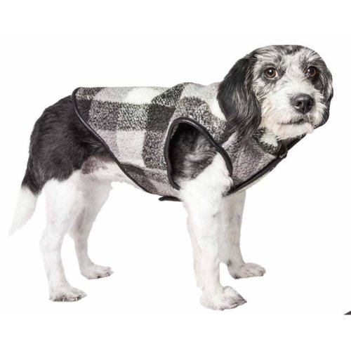 Pet Life 59BKXS Boxer Classical Plaided Insulated Dog Coat Jacket - Black, Grey & White Plaid, Extra Small