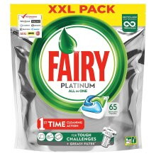 Fairy Platinum Dishwasher Tablets Original All-in-One Soft Pouches - XXL 65 Pack