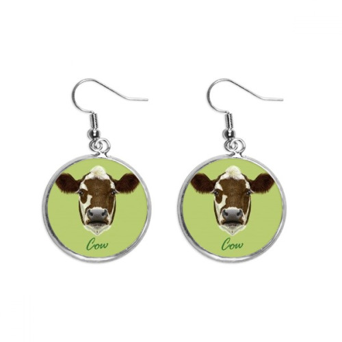 Brown-and-White Domestic Dairy Cow Animal Ear Dangle Silver Drop Earring Jewelry Woman