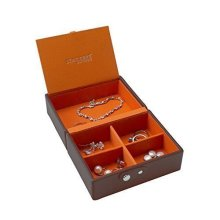 Stackers Chocolate Brown Travel Box Accessory with Orange Lining