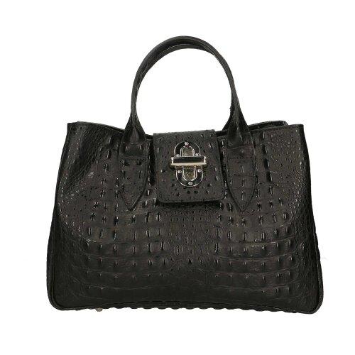 (Black) 35x25x15 cm Leather Handbag - Made in Italy
