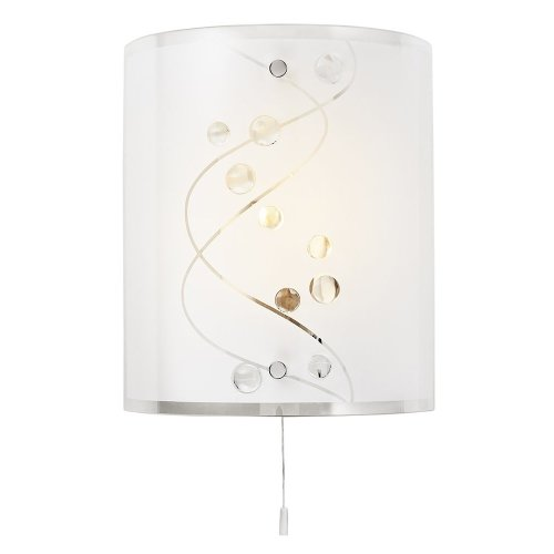 Contemporary White Glass and Clear Glass Beaded Wall Light with Pull Switch by Haysom Interiors