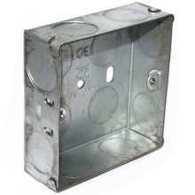 kenable Flush Single Galvanised Steel Back Box With Fixed Lugs 25mm