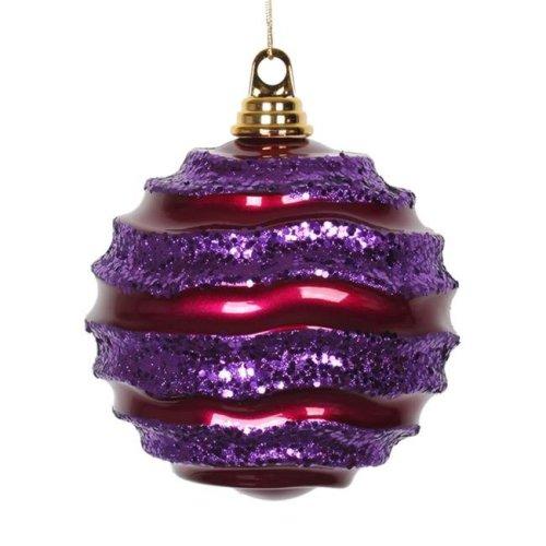 Vickerman M132080 Cerise Purple Candy Glitter Wave Ball Ornament - 6 in.