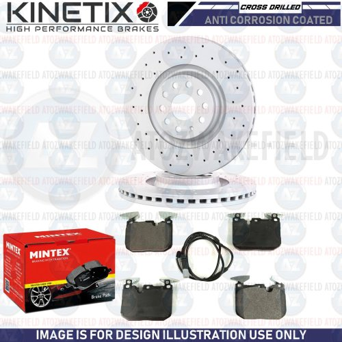 FOR BMW 3 SERIES 340i M SPORT FRONT DRILLED BRAKE DISCS MINTEX PADS WIRE 370mm