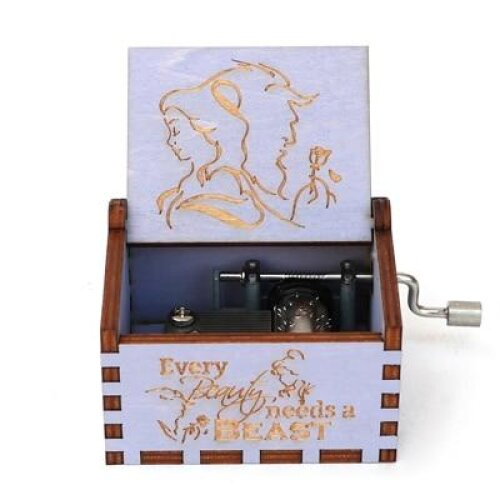 Beauty And The Beast Engraved-Wooden, Hand Cranked Music Box
