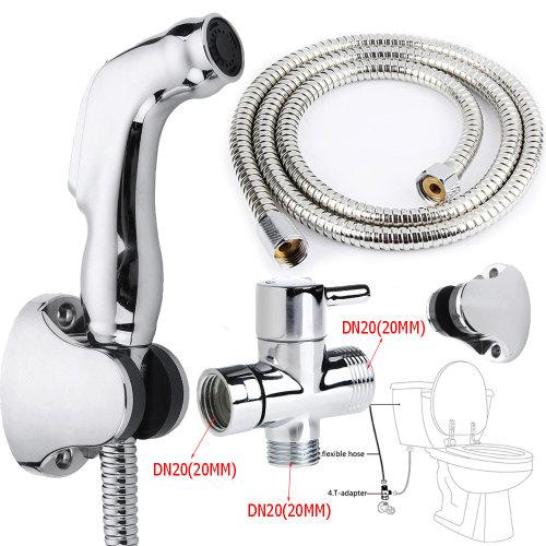 Handheld Bathroom Toilet Bidet Shattaf Shower Spray Jet T-adapter Set