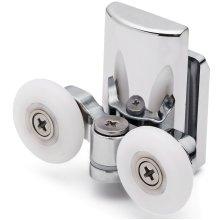 2 x Double Bottom Zinc Alloy Shower Door Rollers/Runners L067