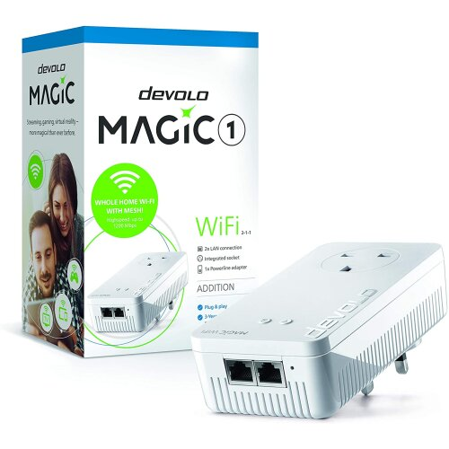 Devolo Magic 1-1200 Wi-Fi Ac: Stable home working, High Performance Add-on Powerline Adapter, Mesh Wi-Fi, Up to 1200 Mbps Via Powerline, Wi-Fi Ac, Wi-
