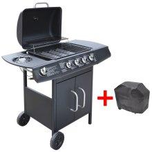 vidaXL Gas Barbecue Grill 4+1 Burners Black