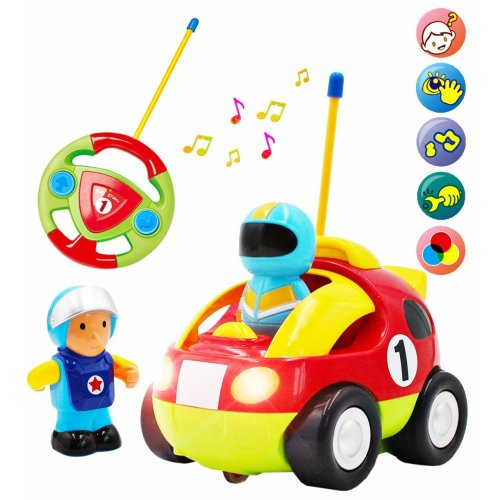 deAO Remote Control Cartoon Race Car for Toddlers and Young Children with Light and Music – 2 Drivers Included.