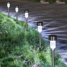 10 Psc Solar Powered Stainless Steel Led Post Stake Lights Garden Patio Outdoor