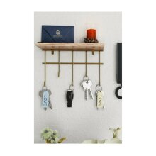 P&W Golden Plated Wooden Key Holder, Key Rack, Key Storage