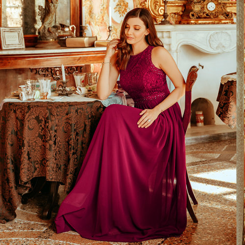 Empire Waist Maxi Long A Line Lace Evening Dresses
