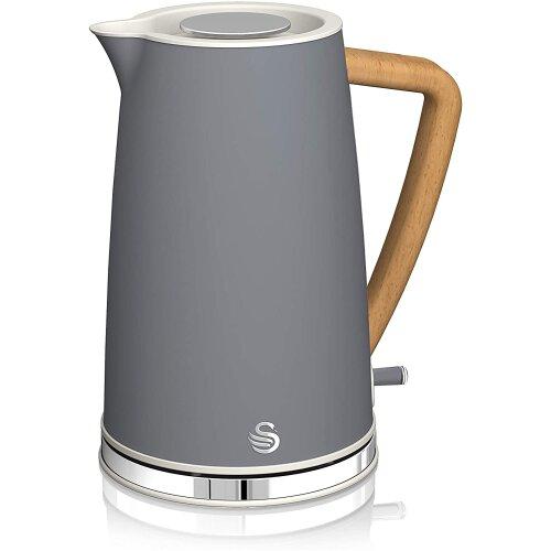 Swan SK14610GRYN, Nordic Rapid Boil Jug Kettle, Wood Effect Handle, Soft Touch Housing and Matt Finish, 3kw, 1.7 Litre, Slate Grey