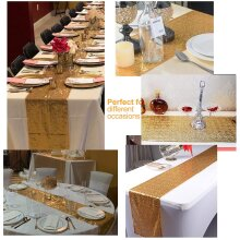 Sequin Table Runner for Wedding,Party and Decor Gold, 12 X 108 inches