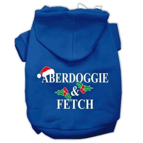 Mirage Pet 62-25-19 XXLBL Aberdoggie Christmas Screen Print Pet Hoodies, Blue - 2XL