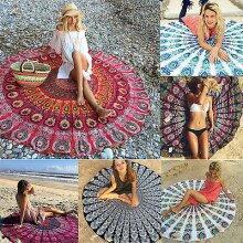 Boho Mandala Round Towel Indian Tapestry Beach Throw Picnic Blanket Yoga Mats