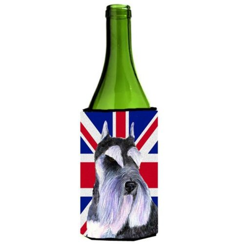 Schnauzer With English Union Jack British Flag Wine bottle sleeve Hugger - 24 Oz.