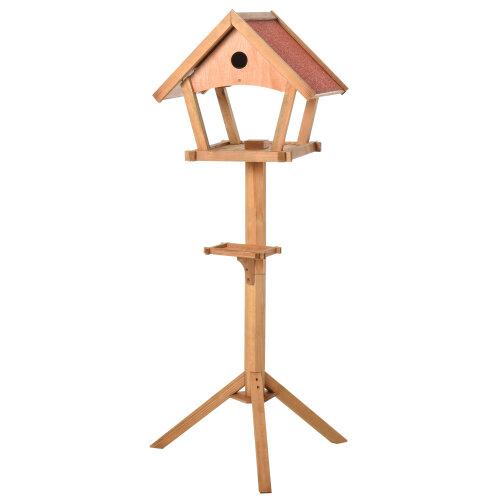 PawHut Wooden Bird Feeder Stand for Garden Backyard Decorative Pre-cut Natural