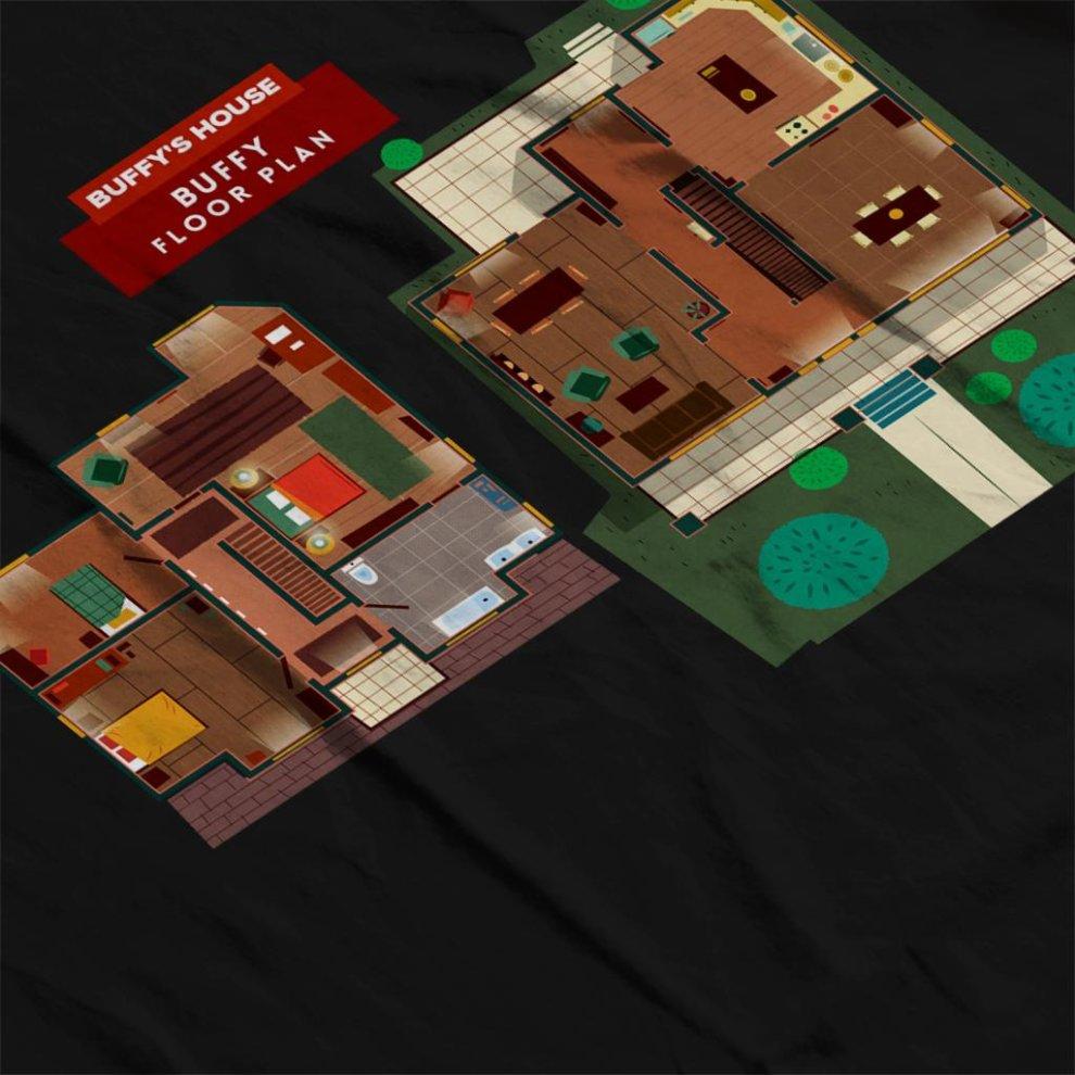 Buffy The Vampire Slayer House Floor Plan Men S T Shirt On Onbuy