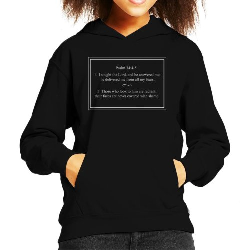 Religious Quotes I Sought The Lord Psalm 34 4 5 Kid's Hooded Sweatshirt