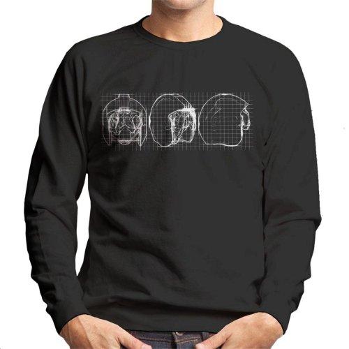 Original Stormtrooper Rebel Pilot Helmet Blueprint Men's Sweatshirt
