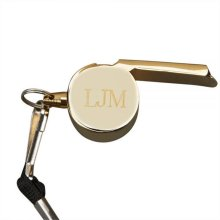 Creative Gifts International 002847 2.125 x 1in. Gold Plated Coachs Whistle with Lanyard - Gold