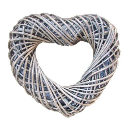 Medium Antique Wash Willow Heart Shaped Wreath 40cm Wide